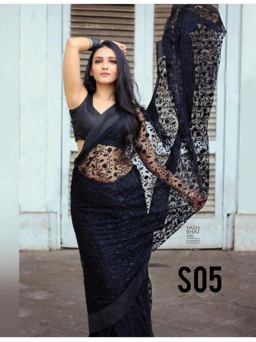 Black net saree S05