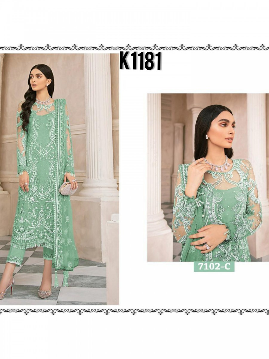 DESGINER HEAVY NET KURTA WITH SEQUENCE WORK K1181