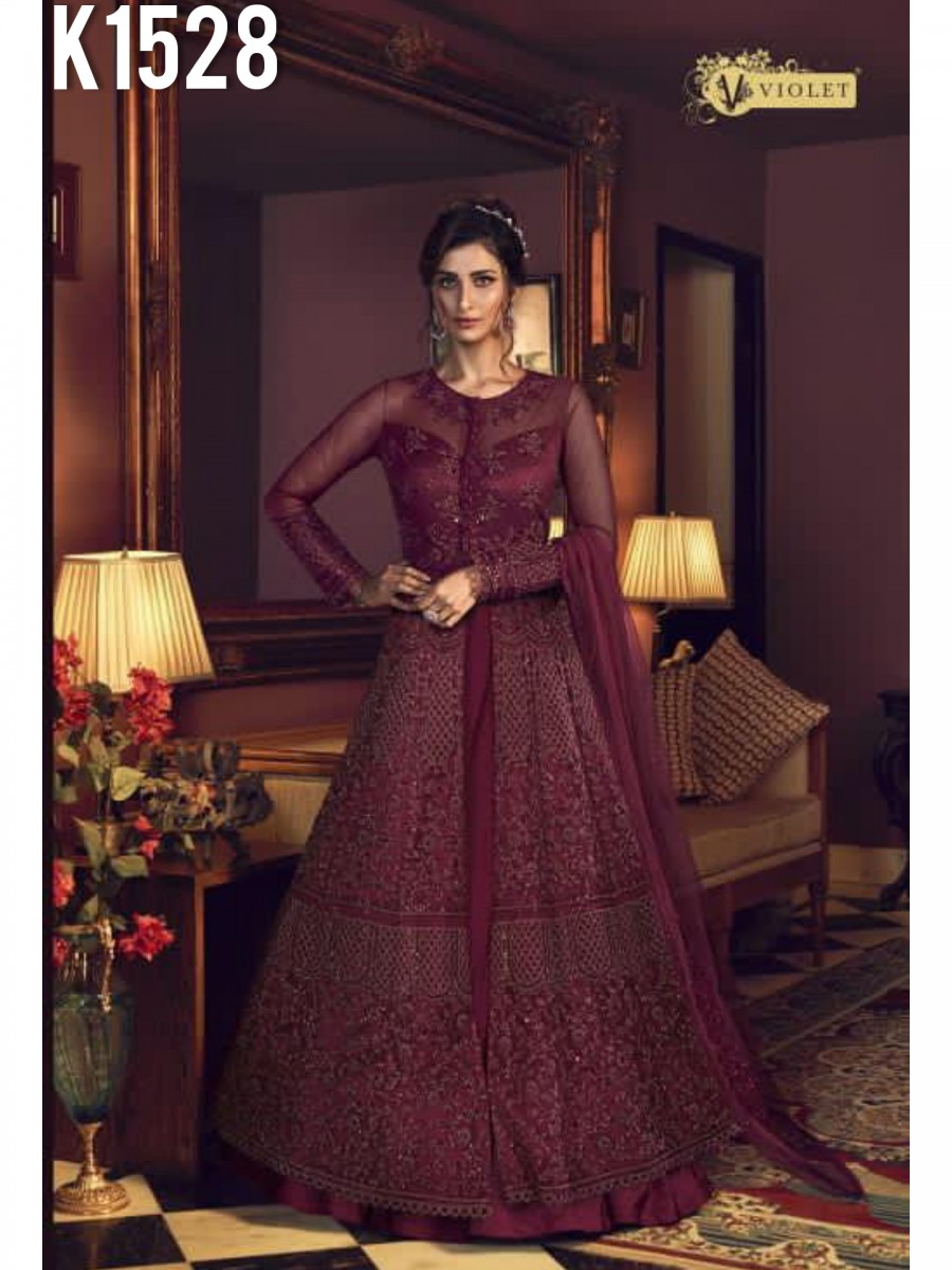 DESIGNER BUTTERFLY NET GOWN WITH CODDING EMBROIDERY WORK K1528