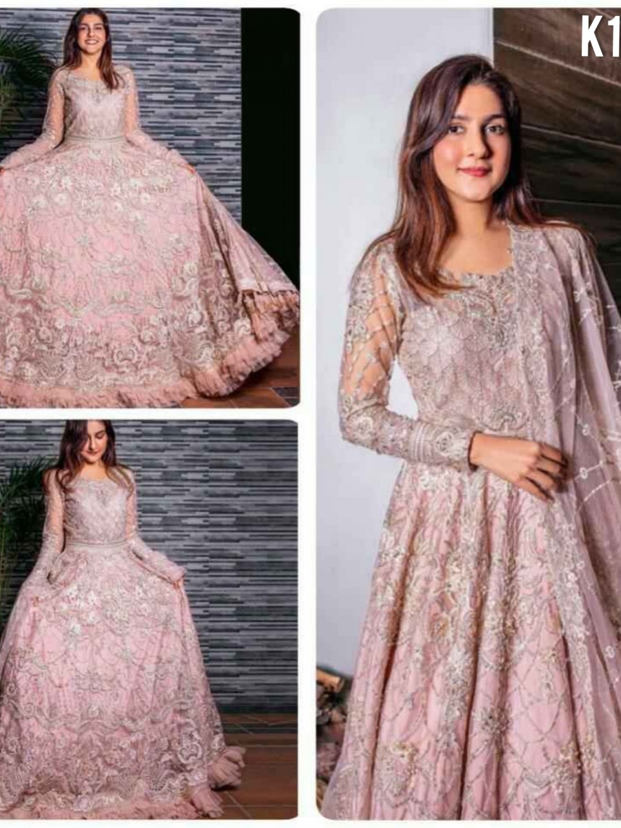 DESIGNER BUTTERFLY NET GOWN WITH EMBROIDERY WORK K1790