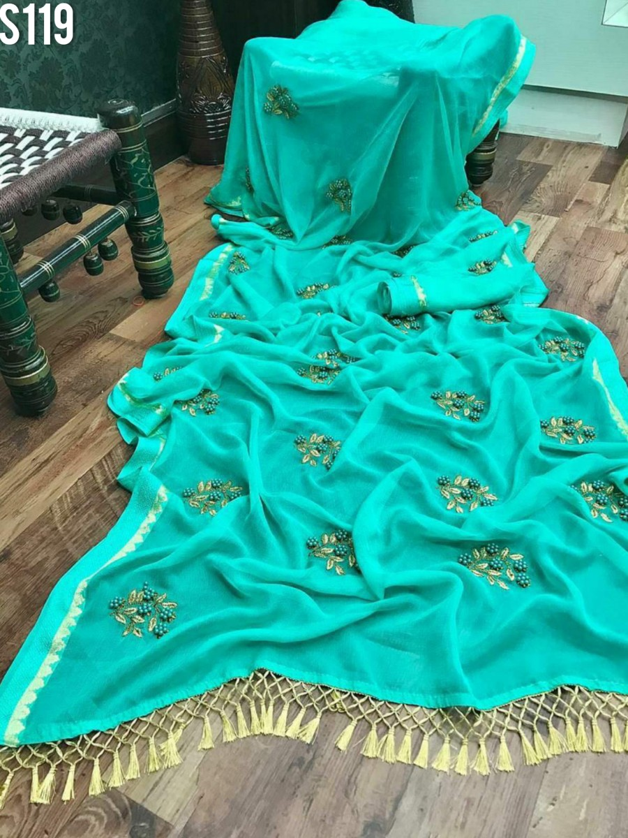 DESIGNER CHIFFON SAREE WITH EMBROIDERY AND PEARL HANDWORK S119