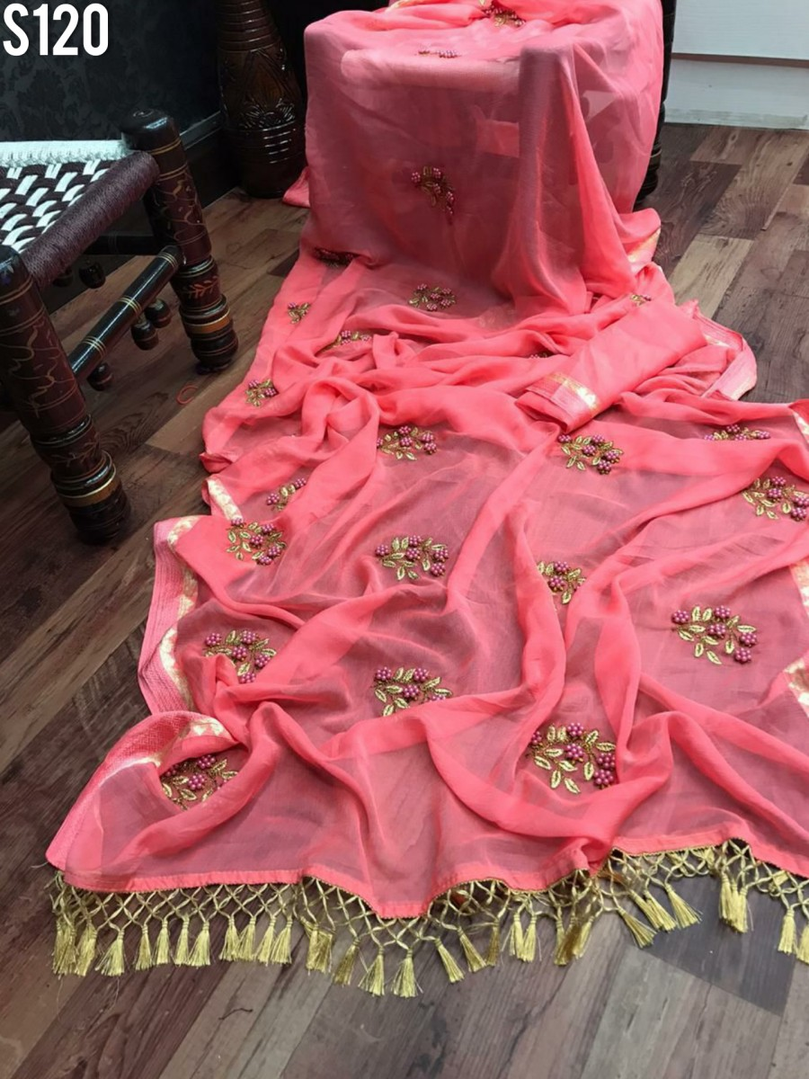DESIGNER CHIFFON SAREE WITH EMBROIDERY AND PEARL HANDWORK S120