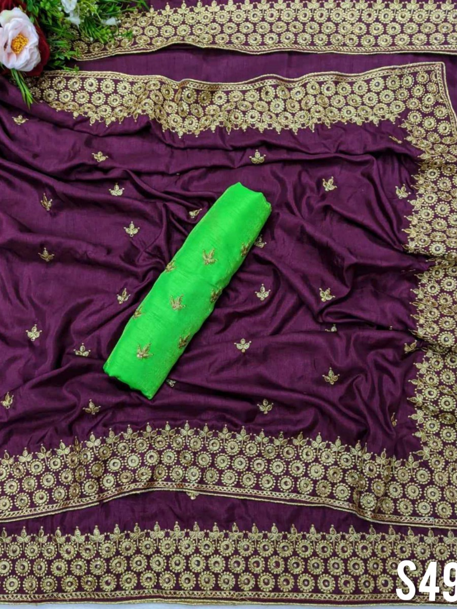 DESIGNER DOLA SILK SAREE WITH EMBROIDERY WORK S490