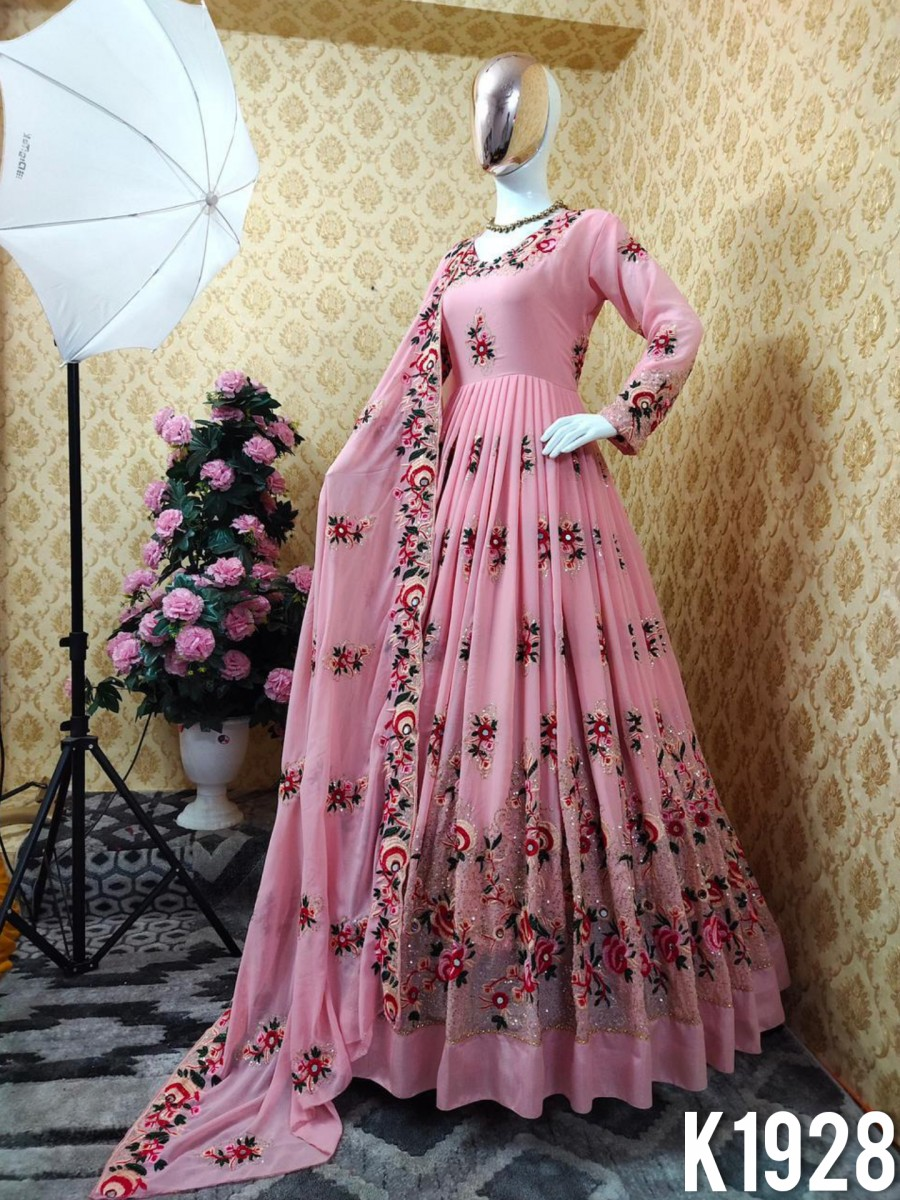 DESIGNER FAUX GEORGETTE GOWN WITH EMBROIDERY WORK K1928