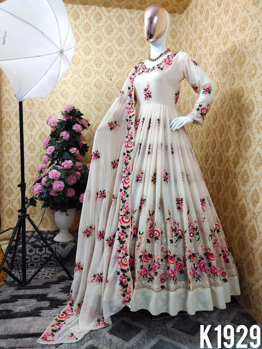 DESIGNER FAUX GEORGETTE GOWN WITH EMBROIDERY WORK K1929