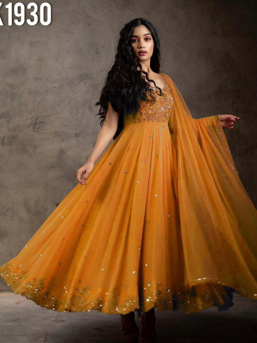 DESIGNER FAUX GEORGETTE GOWN WITH EMBROIDERY WORK K1930