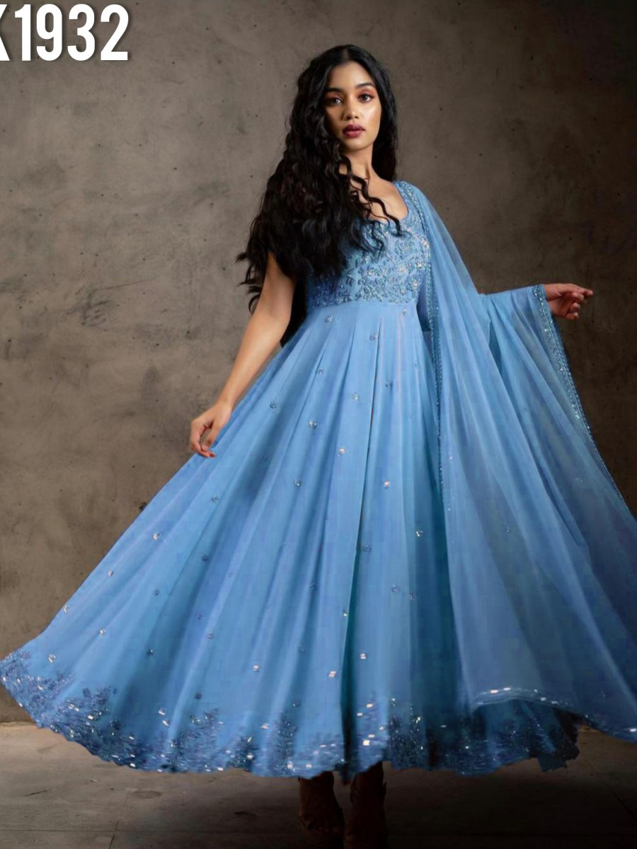 DESIGNER FAUX GEORGETTE GOWN WITH EMBROIDERY WORK K1932