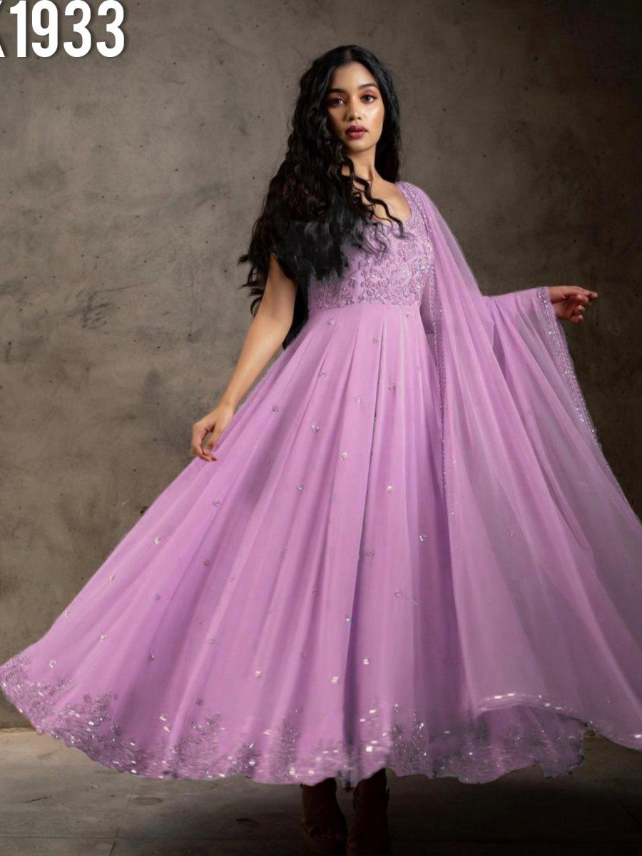 DESIGNER FAUX GEORGETTE GOWN WITH EMBROIDERY WORK K1933