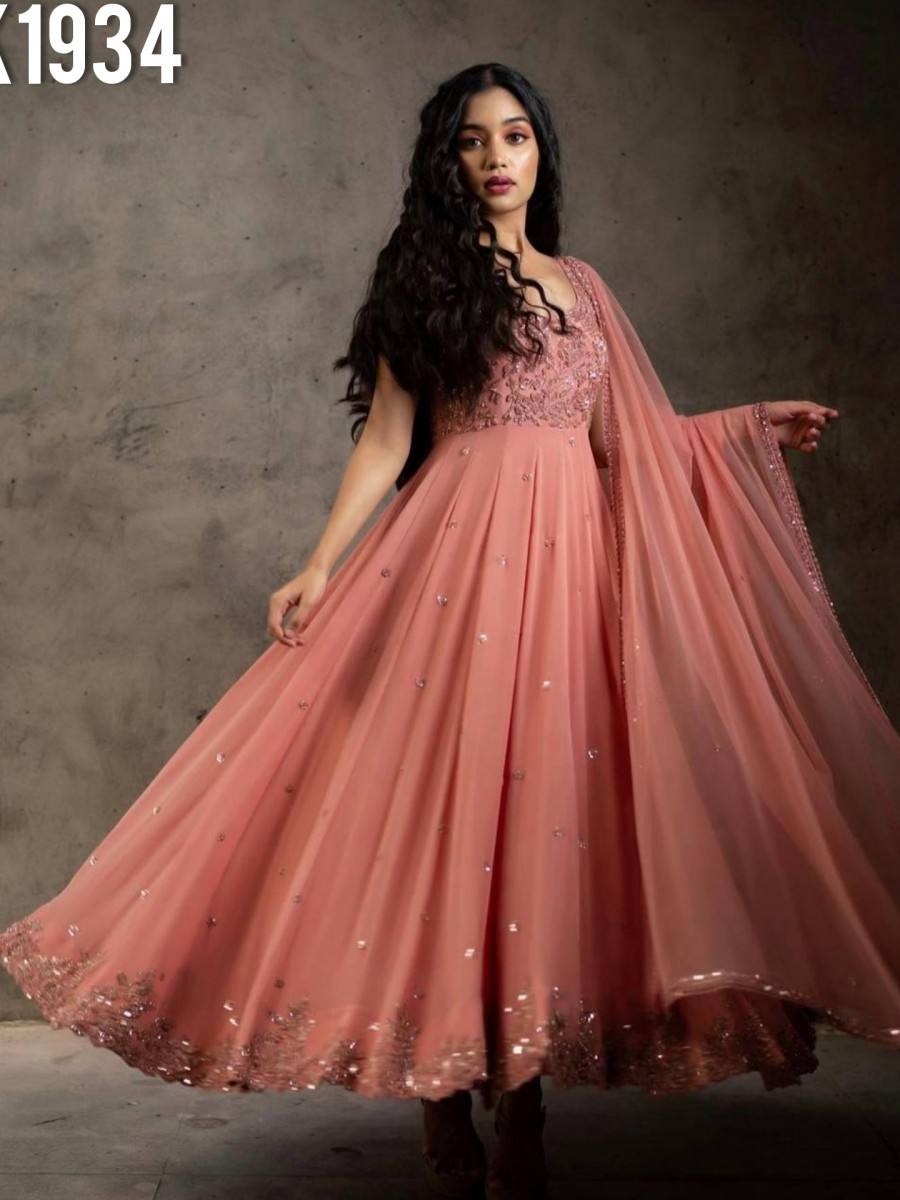 DESIGNER FAUX GEORGETTE GOWN WITH EMBROIDERY WORK K1934