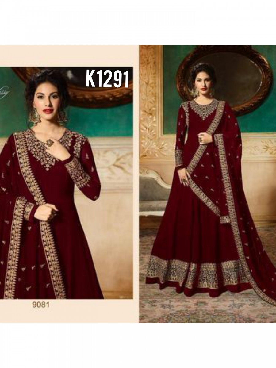 DESIGNER GEORGETTE ANARKALI WITH CODDING EMBROIDERY AND STONE WORK K1291