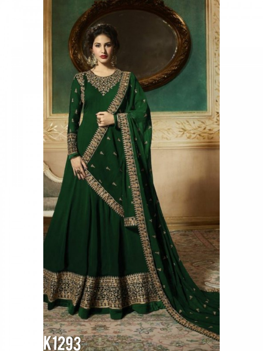 DESIGNER GEORGETTE ANARKALI WITH CODDING EMBROIDERY AND STONE WORK K1293