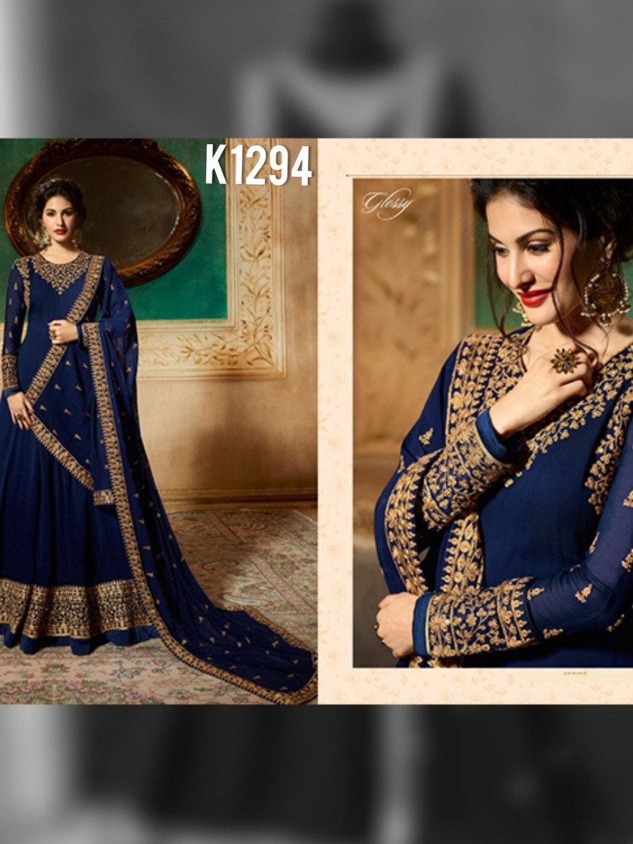 DESIGNER GEORGETTE ANARKALI WITH CODDING EMBROIDERY AND STONE WORK K1294