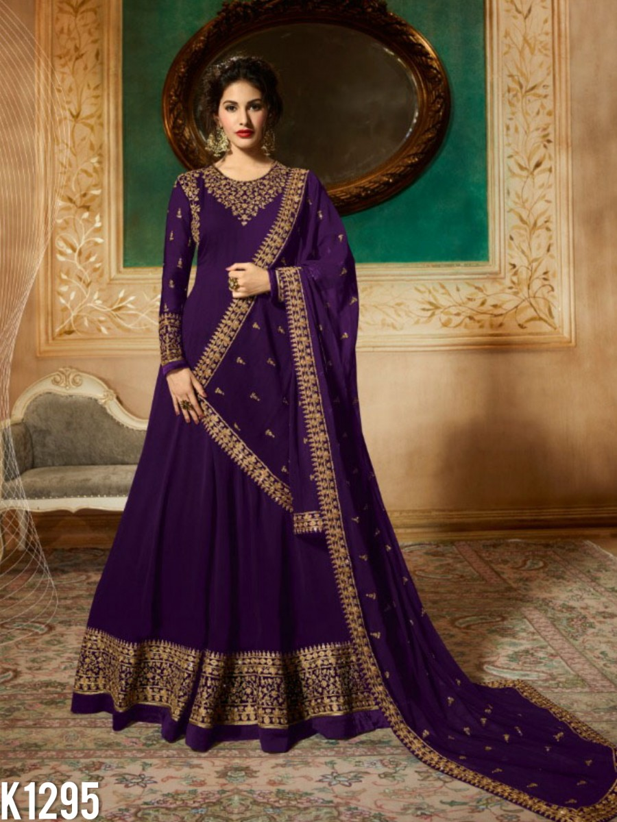 DESIGNER GEORGETTE ANARKALI WITH CODDING EMBROIDERY AND STONE WORK K1295