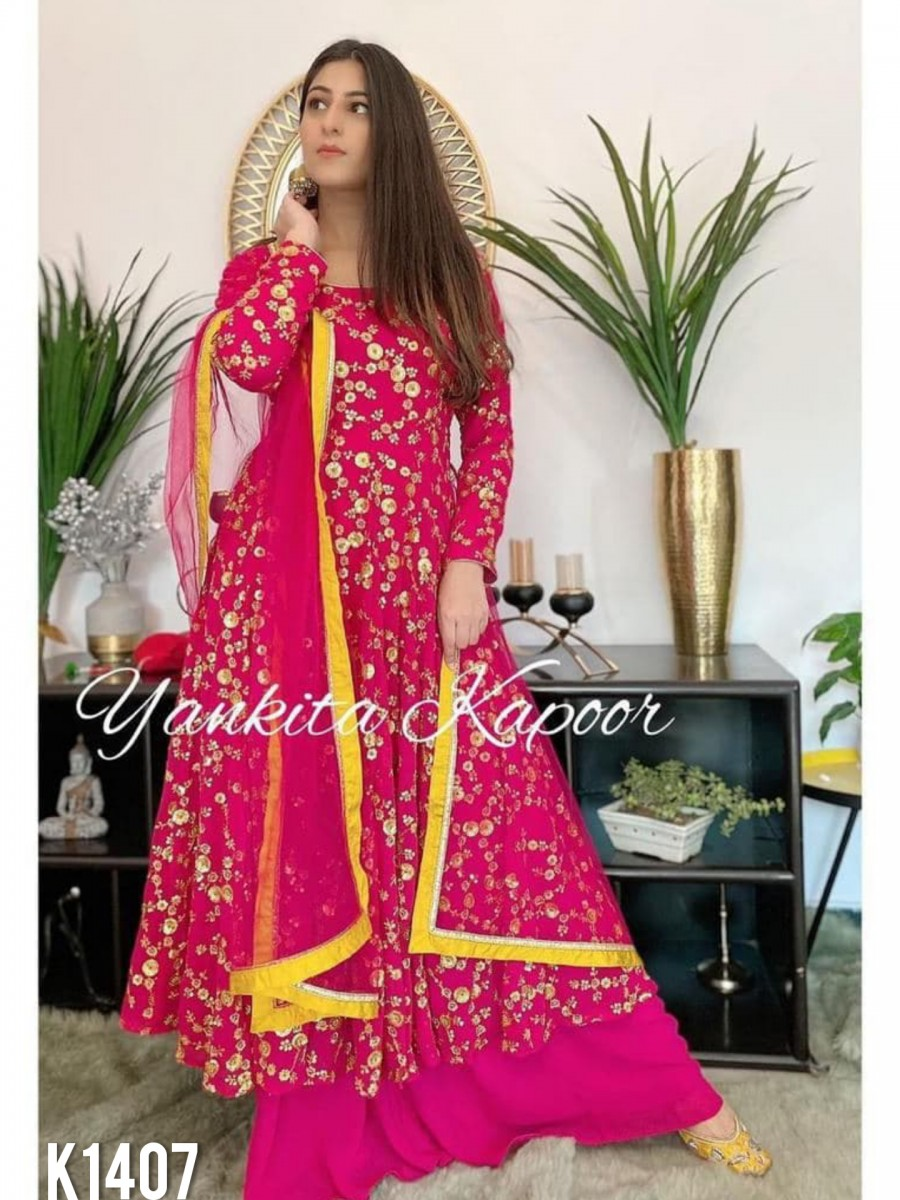 DESIGNER GEORGETTE ANARKALI WITH EMBROIDERY SEQUENCE WORK K1407