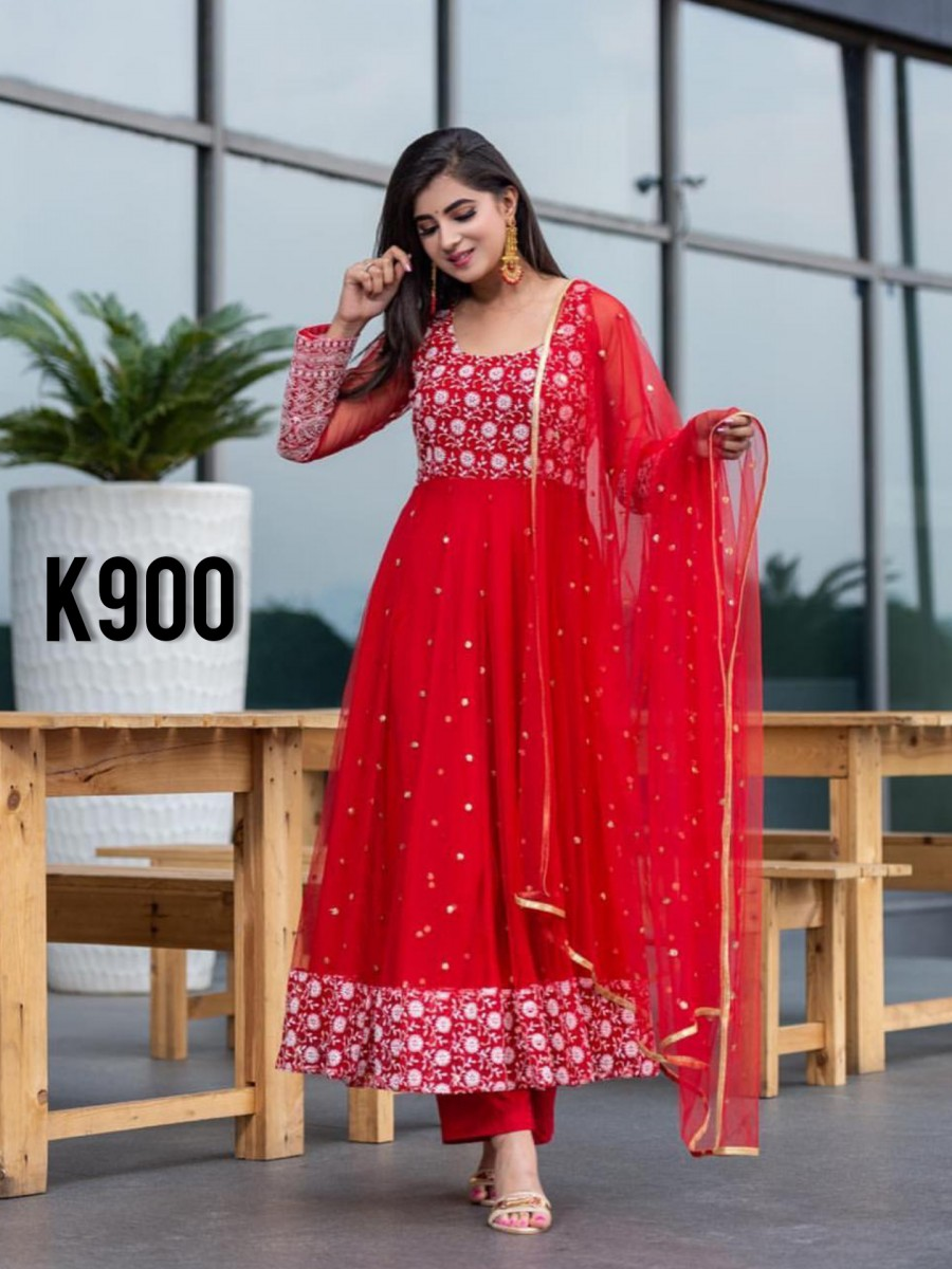 DESIGNER GEORGETTE ANARKALI WITH EMBROIDERY WORK K900