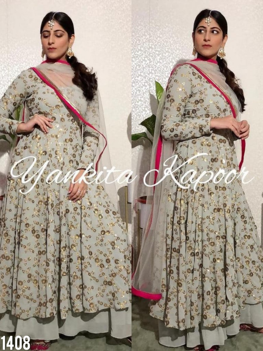 DESIGNER GEORGETTE ANARKALI WITH HEAVY EMBROIDERY SEQUENCE WORK K1408