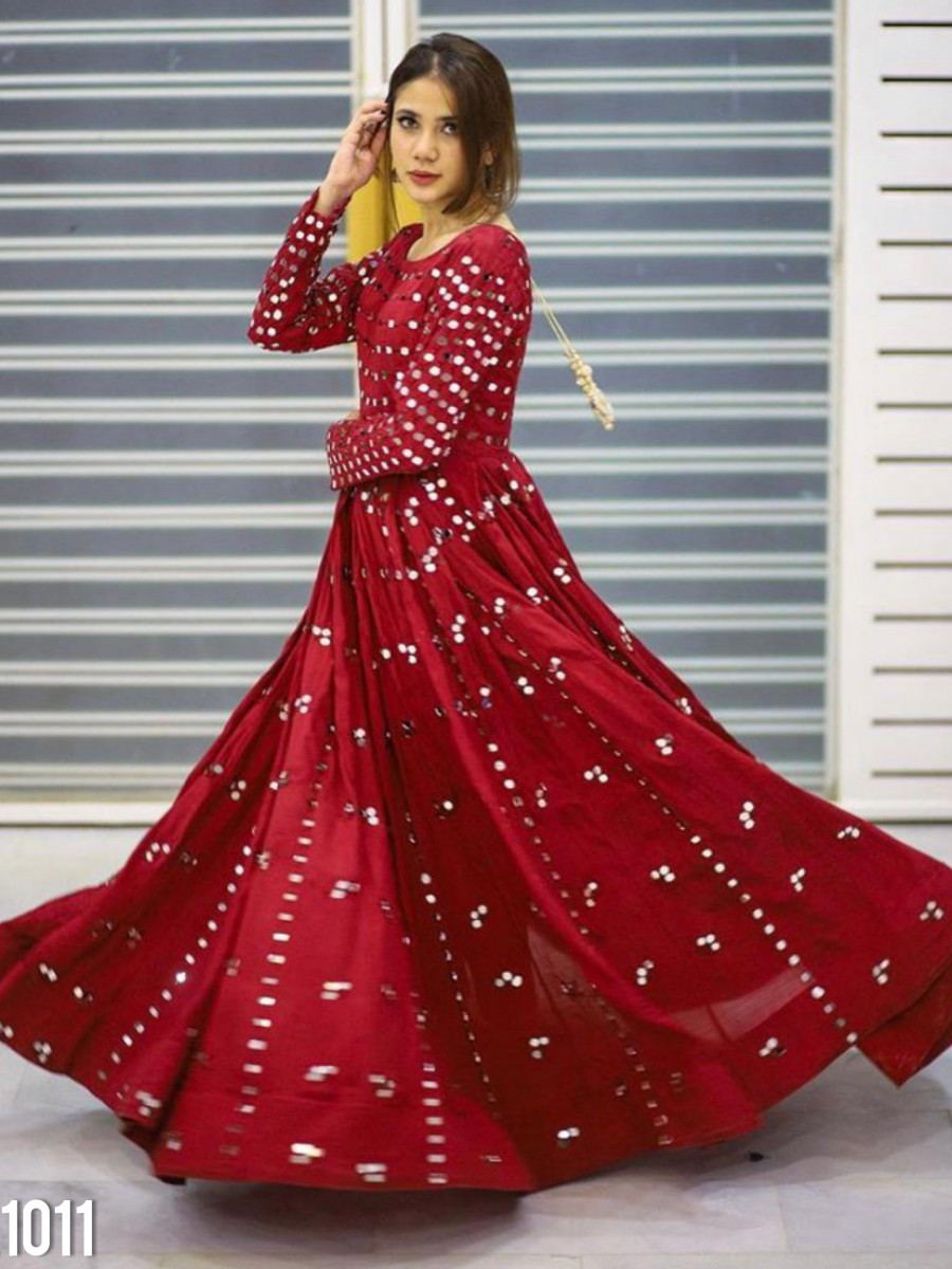 DESIGNER GEORGETTE GOWN WITH EMBROIDERY WORK K1011