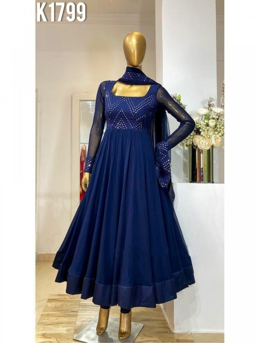 DESIGNER GEORGETTE GOWN WITH EMBROIDERY WORK K1799