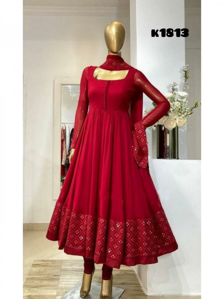 DESIGNER GEORGETTE GOWN WITH EMBROIDERY WORK K1813