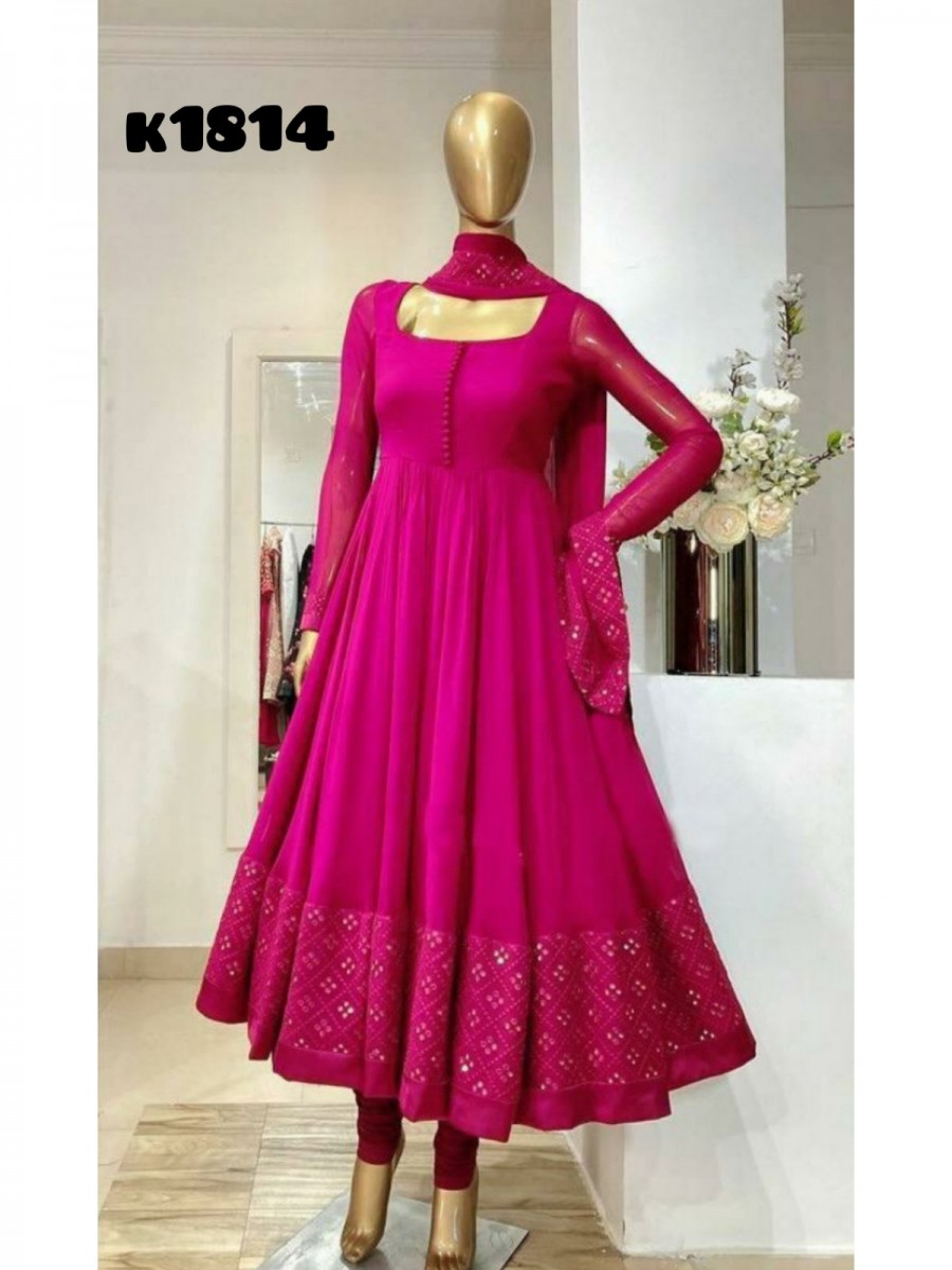 DESIGNER GEORGETTE GOWN WITH EMBROIDERY WORK K1814