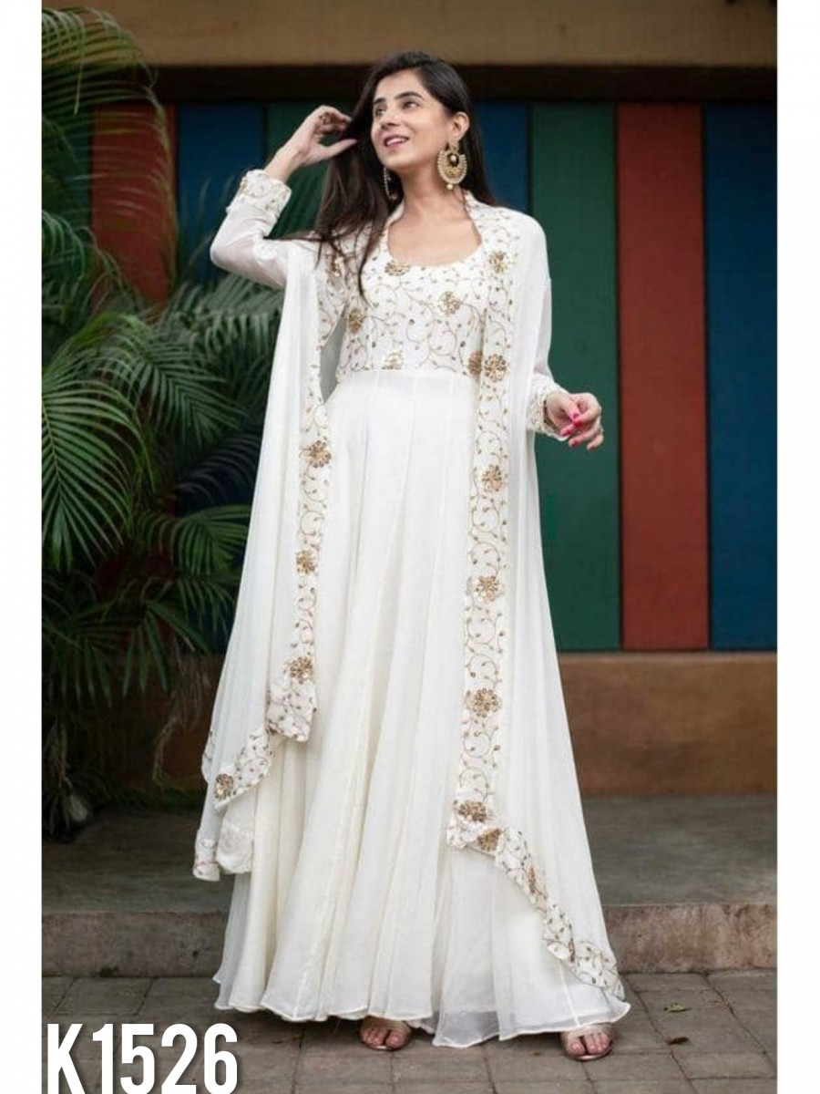 DESIGNER GEORGETTE GOWN WITH SEQUENCE WORK K1526