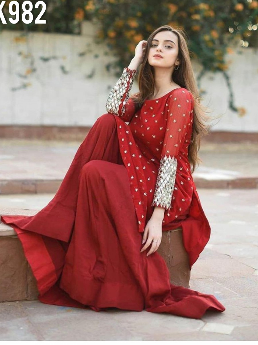 DESIGNER GEORGETTE KURTA WITH EMBROIDERY WORK K982