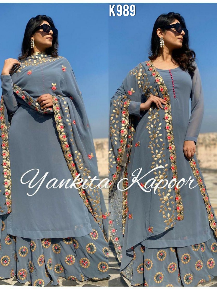 DESIGNER GEORGETTE KURTA WITH EMBROIDERY WORK K989