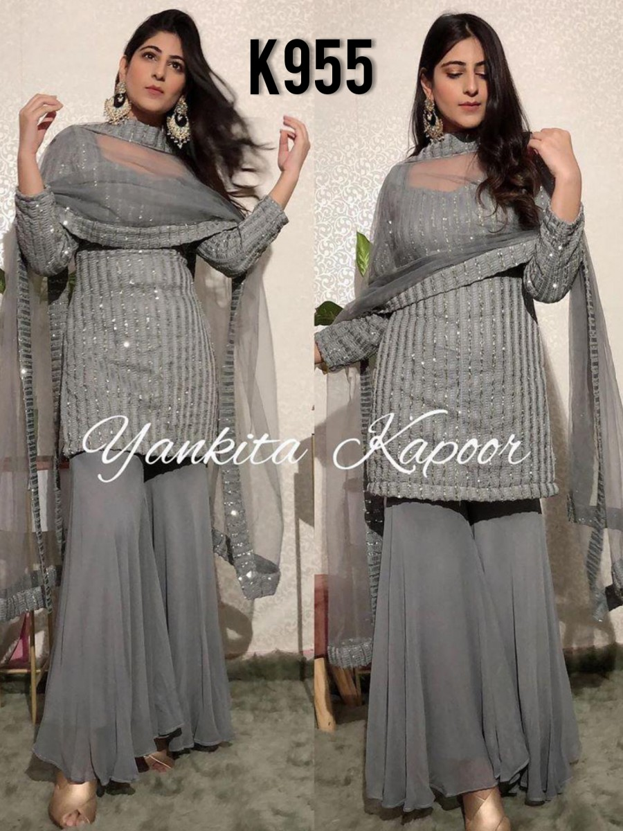 DESIGNER GEORGETTE KURTA WITH SEQUENCE WORK K955