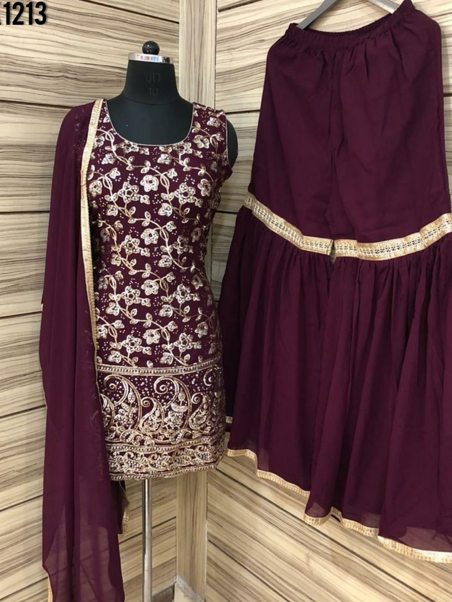 DESIGNER GEORGETTE KURTI WITH HEAVY EMBROIDERY WORK K1213