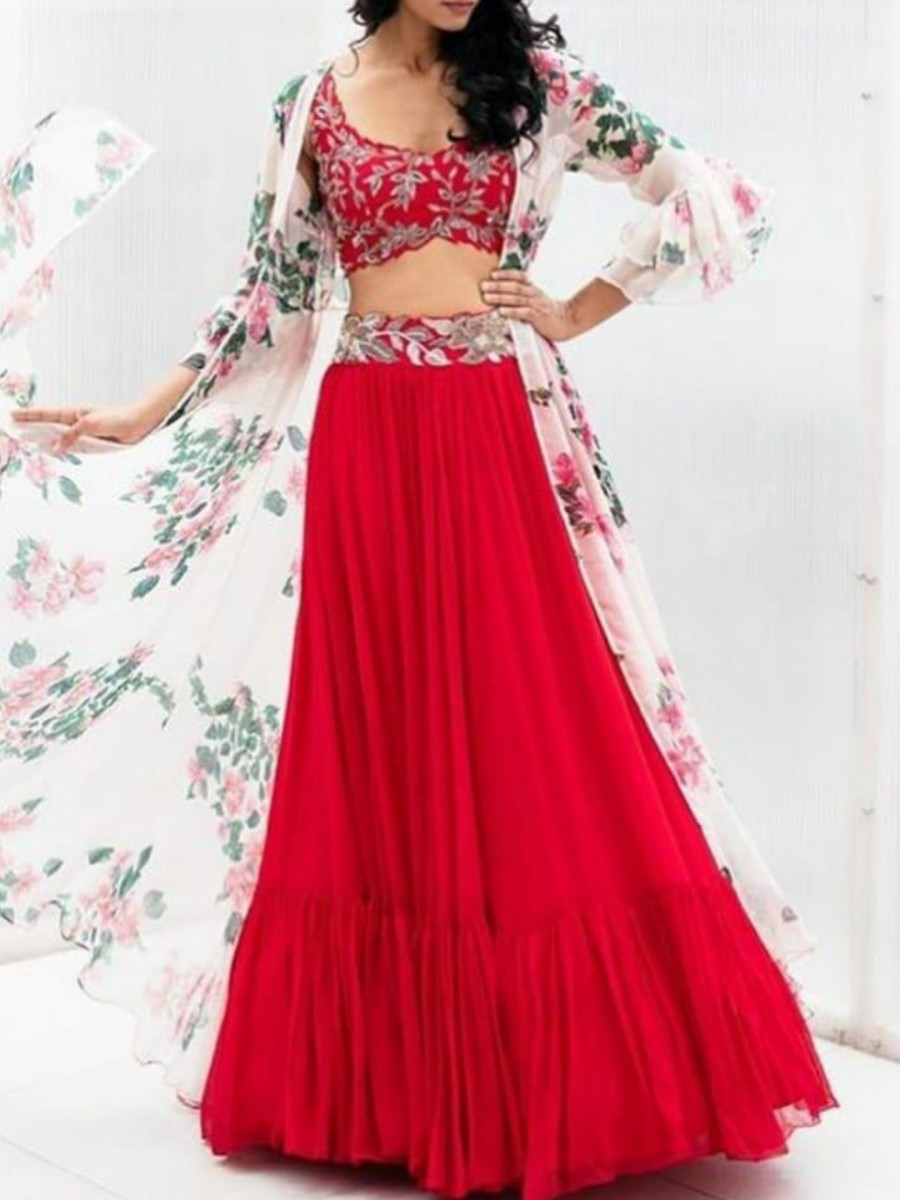 DESIGNER GEORGETTE LEHENGA WITH EMBROIDERY BELT L35