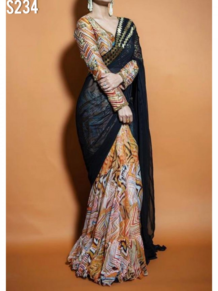 DESIGNER GEORGETTE SAREE WITH DIGITAL PAINT S234