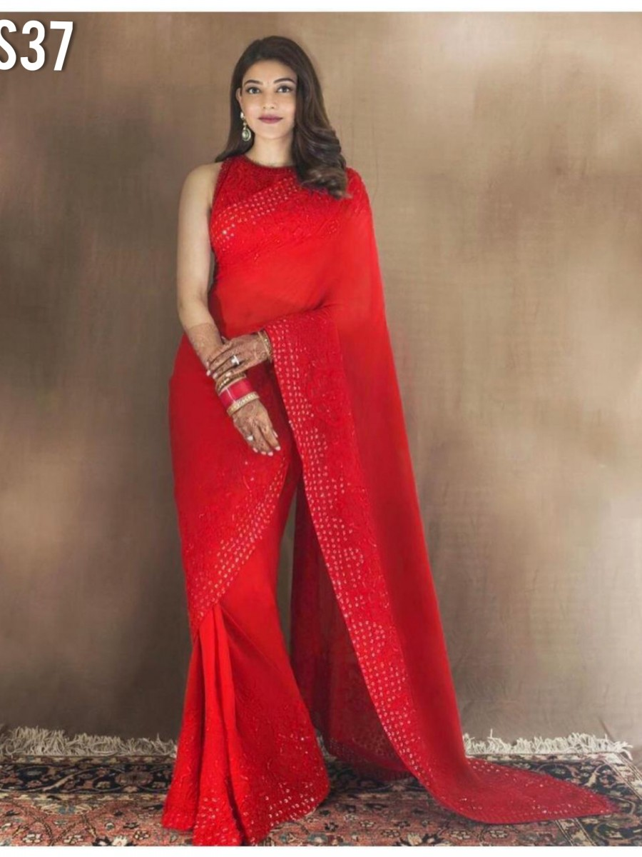 DESIGNER GEORGETTE SAREE WITH SEQUENCE WORK  S37