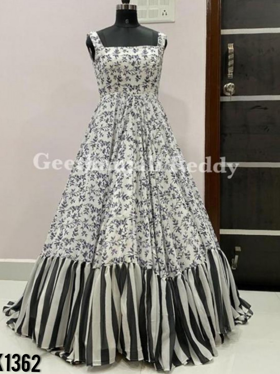 DESIGNER GEORGETTE SILK GOWN WITH DIGITAL PRINT K1362