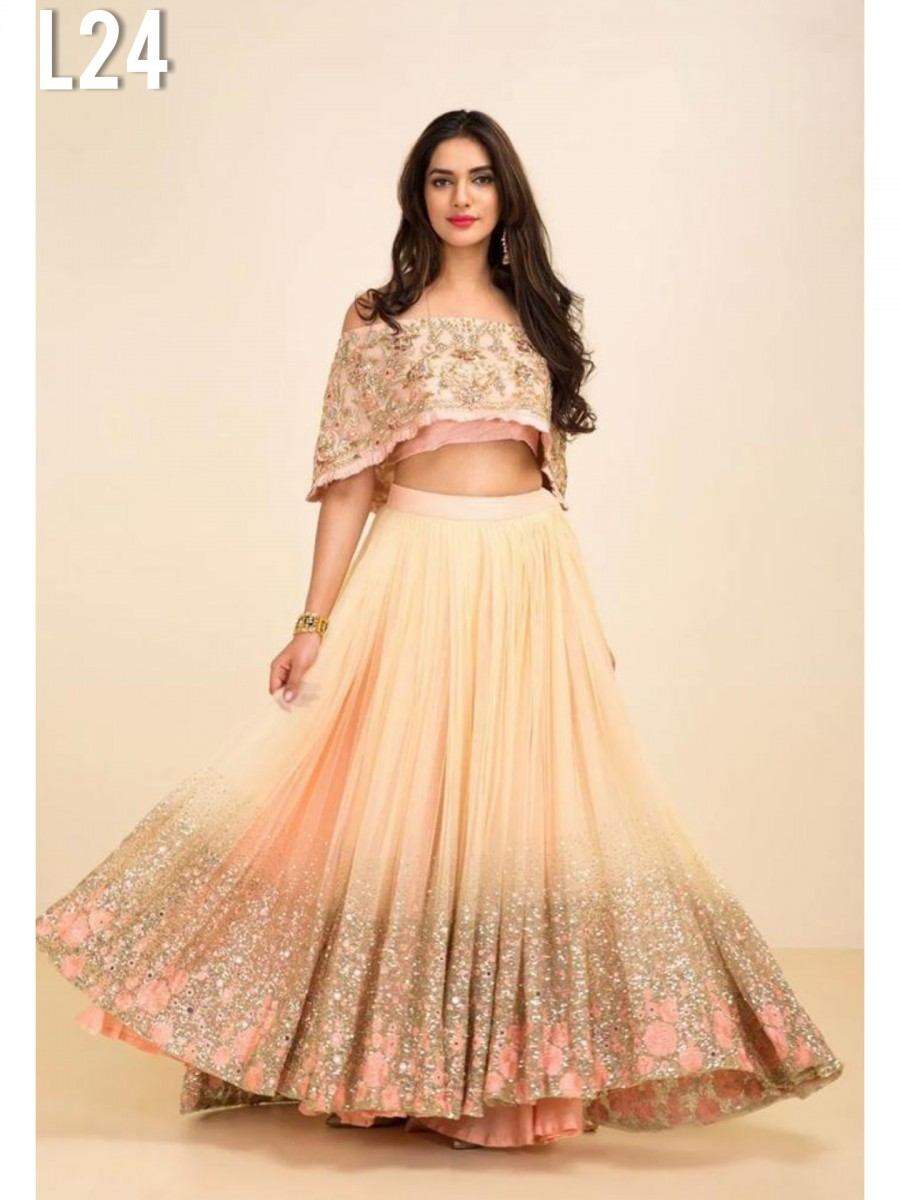 DESIGNER GEORGETTE SILK LEHENGA WITH HEAVY EMBROIDERY SEQUENCE WORK L24