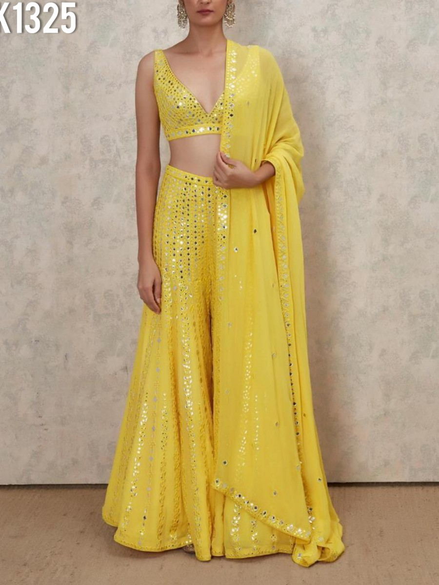 DESIGNER GEORGETTE TOP AND SHARARA WITH PAPER AND THREAD WORK K1325
