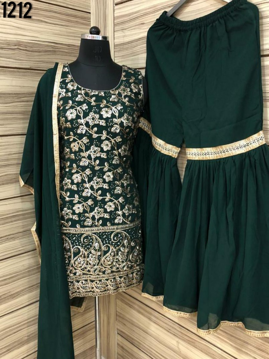 DESIGNER GEROGETTE KURTI WITH EMBROIDERY WORK K1212