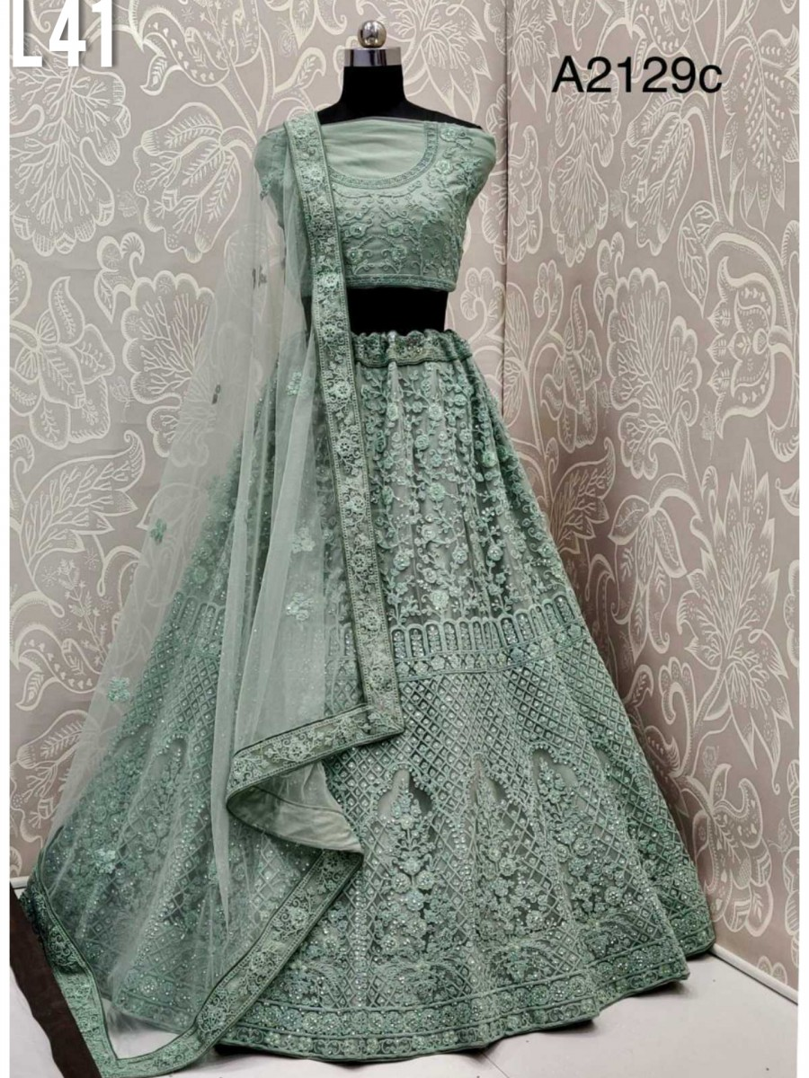 DESIGNER HEAVY BRIDAL NET LEHENGA WITH THREAD EMBROIDERY WORK L41