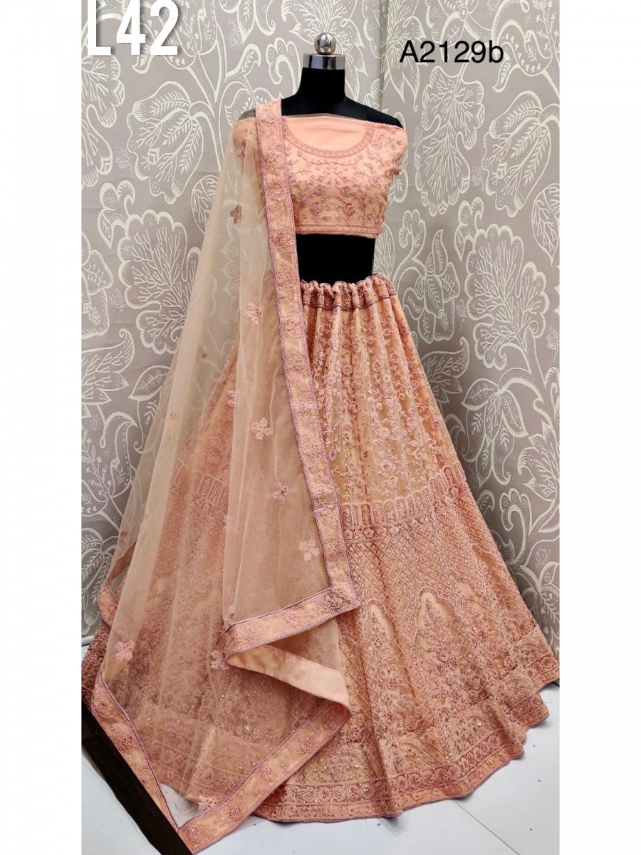 DESIGNER HEAVY BRIDAL NET LEHENGA WITH THREAD EMBROIDERY WORK L42