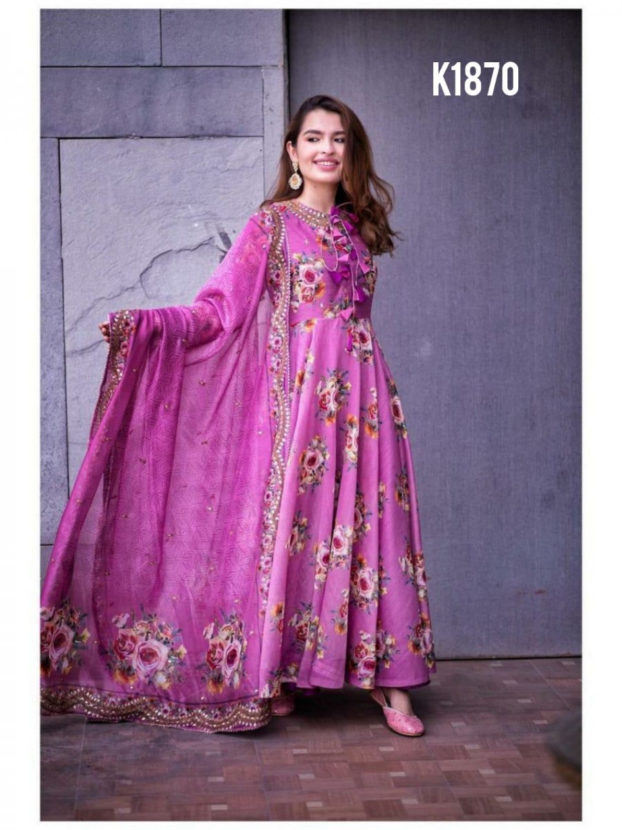 DESIGNER HEAVY BUTTER SILK GOWN WITH EMBROIDERY WORK K1870