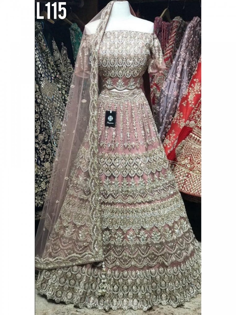 DESIGNER HEAVY BUTTERFLY NET LEHENGA WITH EMBROIDERY WORK AND DIAMOND HANDWORK L115