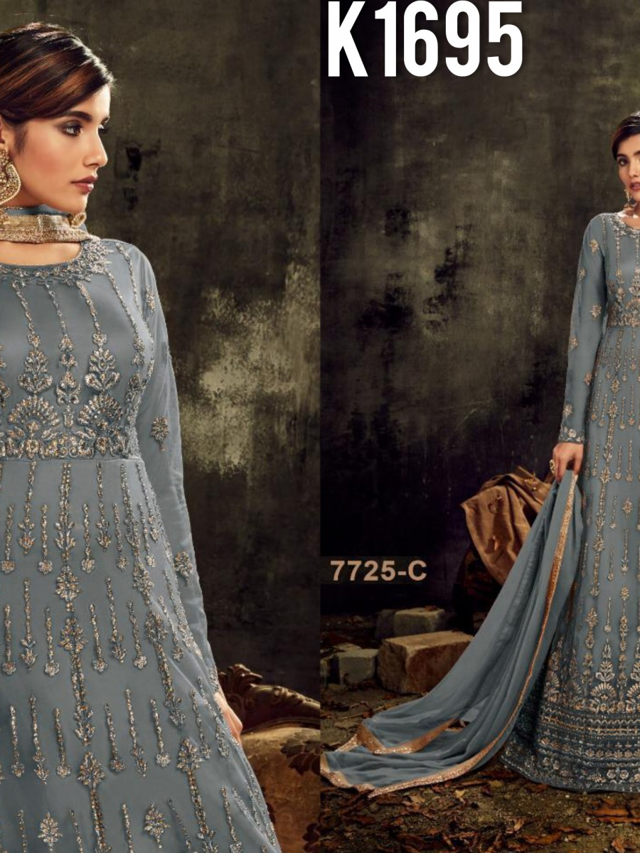 DESIGNER HEAVY BUTTERFLY NET SUIT WITH EMBROIDERY WORK K1695