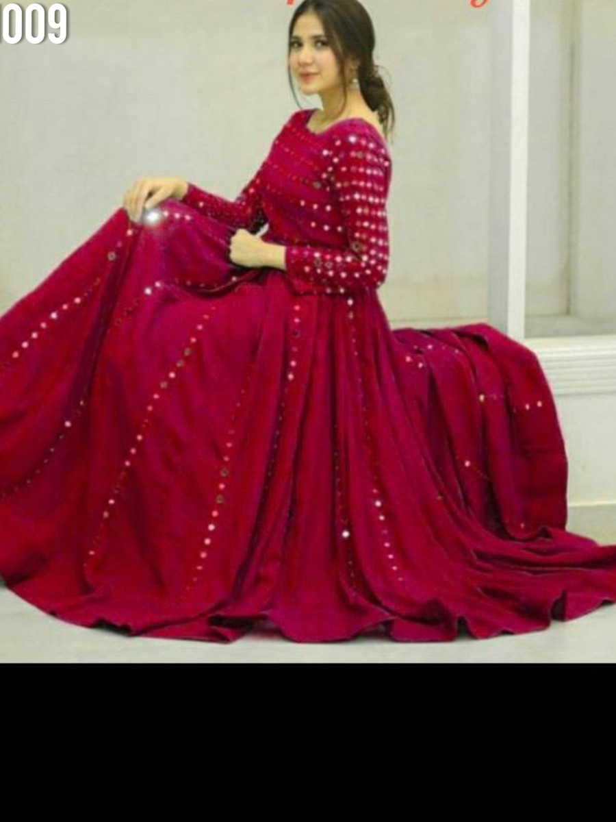 DESIGNER HEAVY EMBROIDERY ANARKALI WITH REAL MIRROR K1009