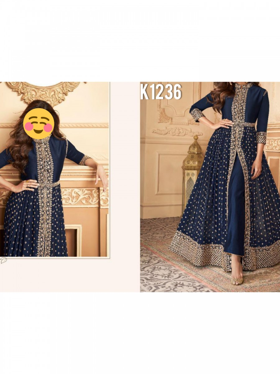 DESIGNER HEAVY FAUX GEORGETTE ANARKALI WITH CODING AND SEQUENCE WORK K1236