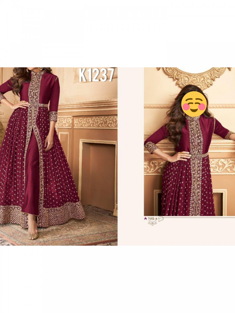DESIGNER HEAVY FAUX GEORGETTE ANARKALI WITH CODING AND SEQUENCE WORK K1237