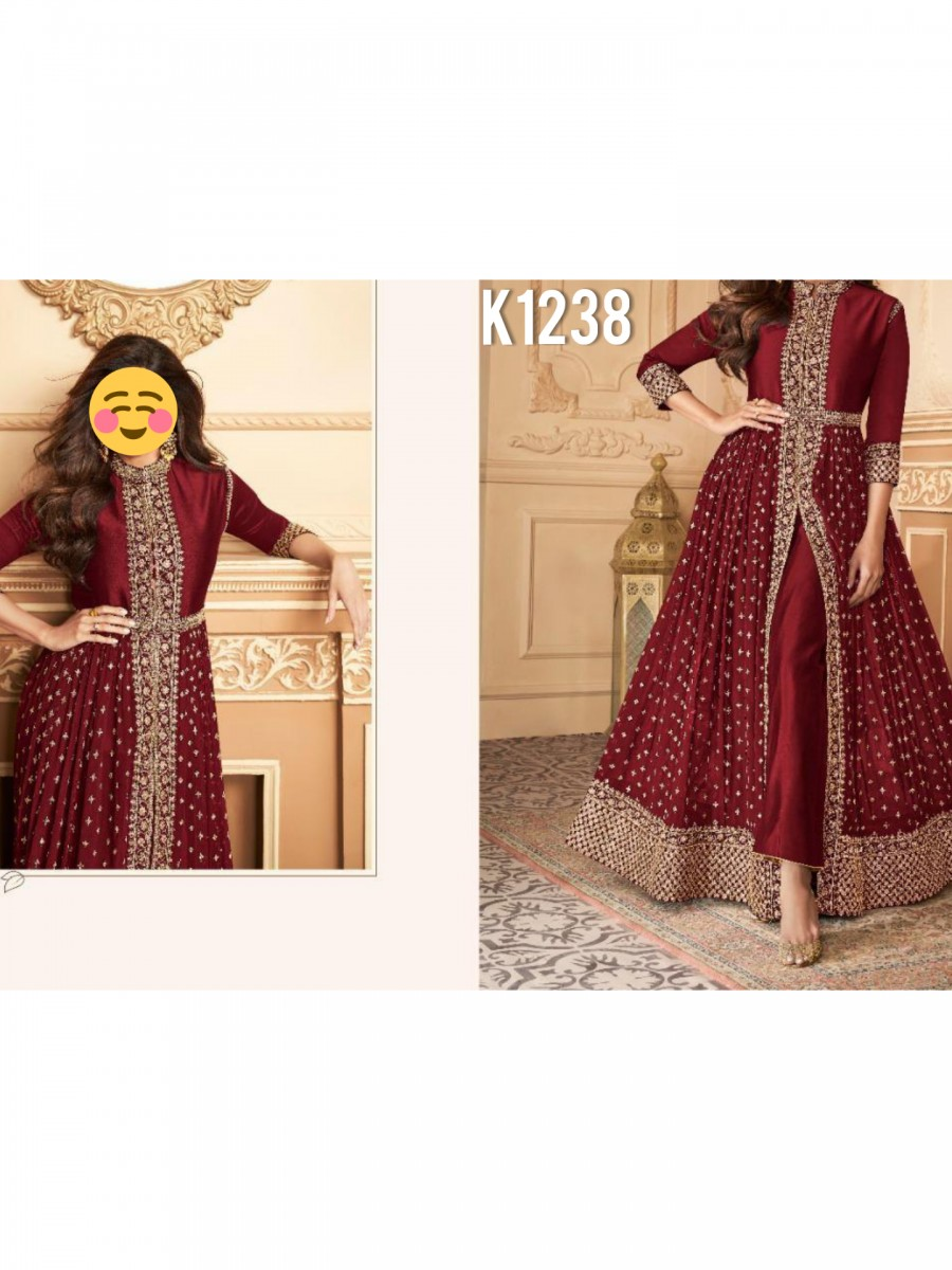 DESIGNER HEAVY FAUX GEORGETTE ANARKALI WITH CODING AND SEQUENCE WORK K1238