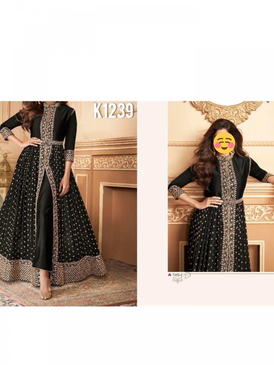 DESIGNER HEAVY FAUX GEORGETTE ANARKALI WITH CODING AND SEQUENCE WORK K1239