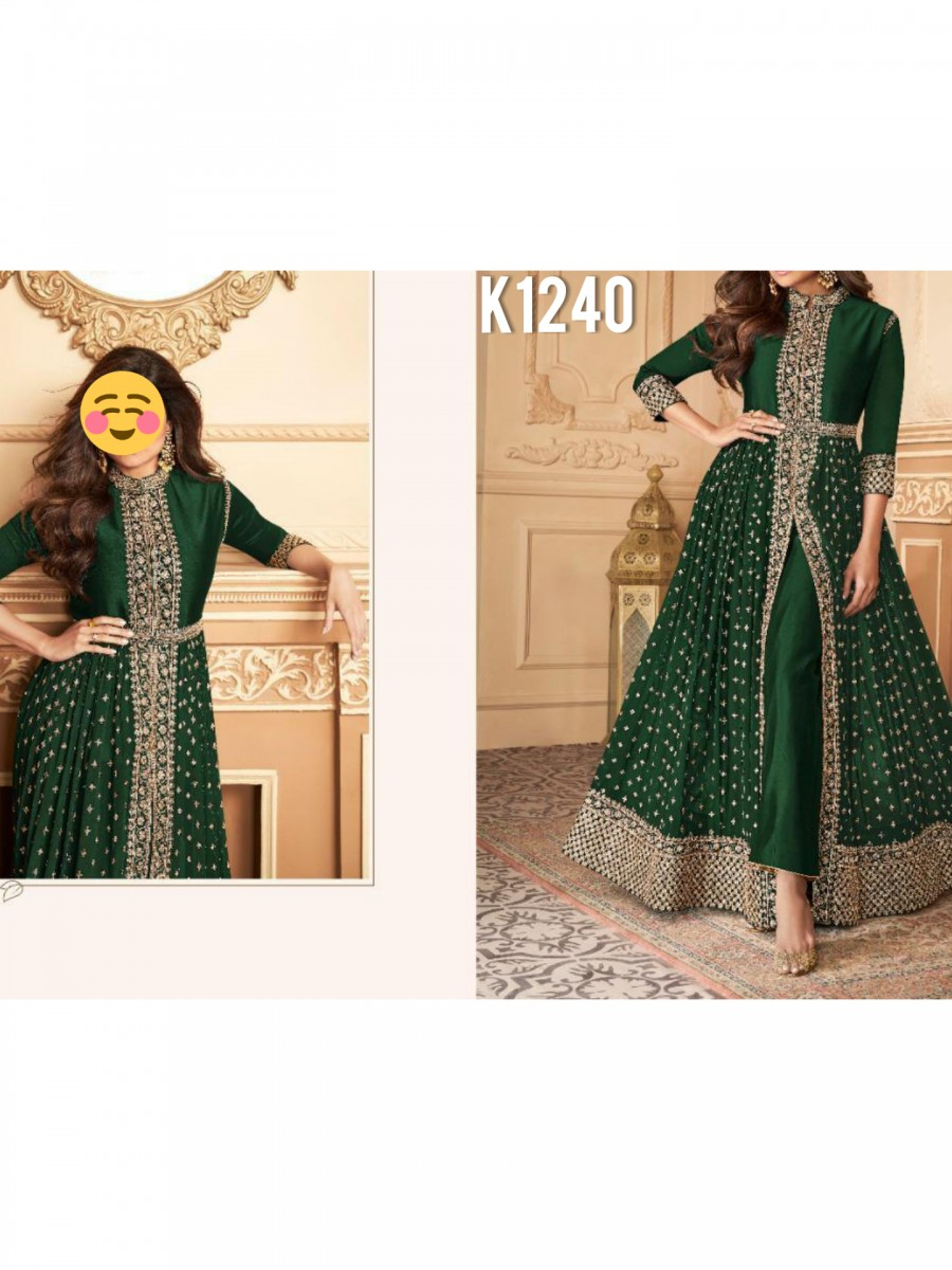 DESIGNER HEAVY FAUX GEORGETTE ANARKALI WITH CODING AND SEQUENCE WORK K1240