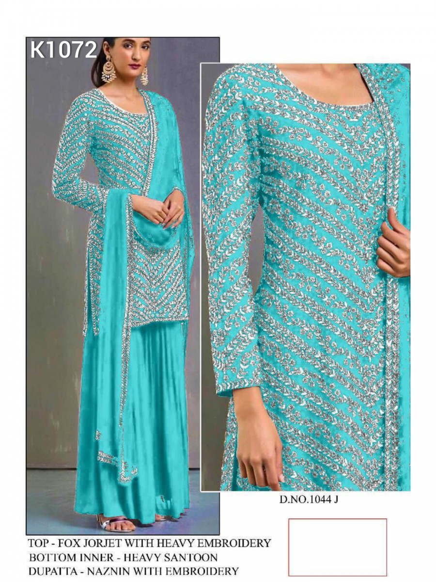 DESIGNER HEAVY FAUX GEORGETTE KURTA WITH HEAVY EMBROIDERY WORK K1072