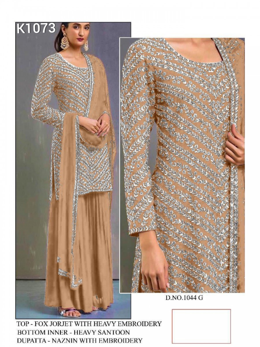 DESIGNER HEAVY FAUX GEORGETTE KURTA WITH HEAVY EMBROIDERY WORK K1073
