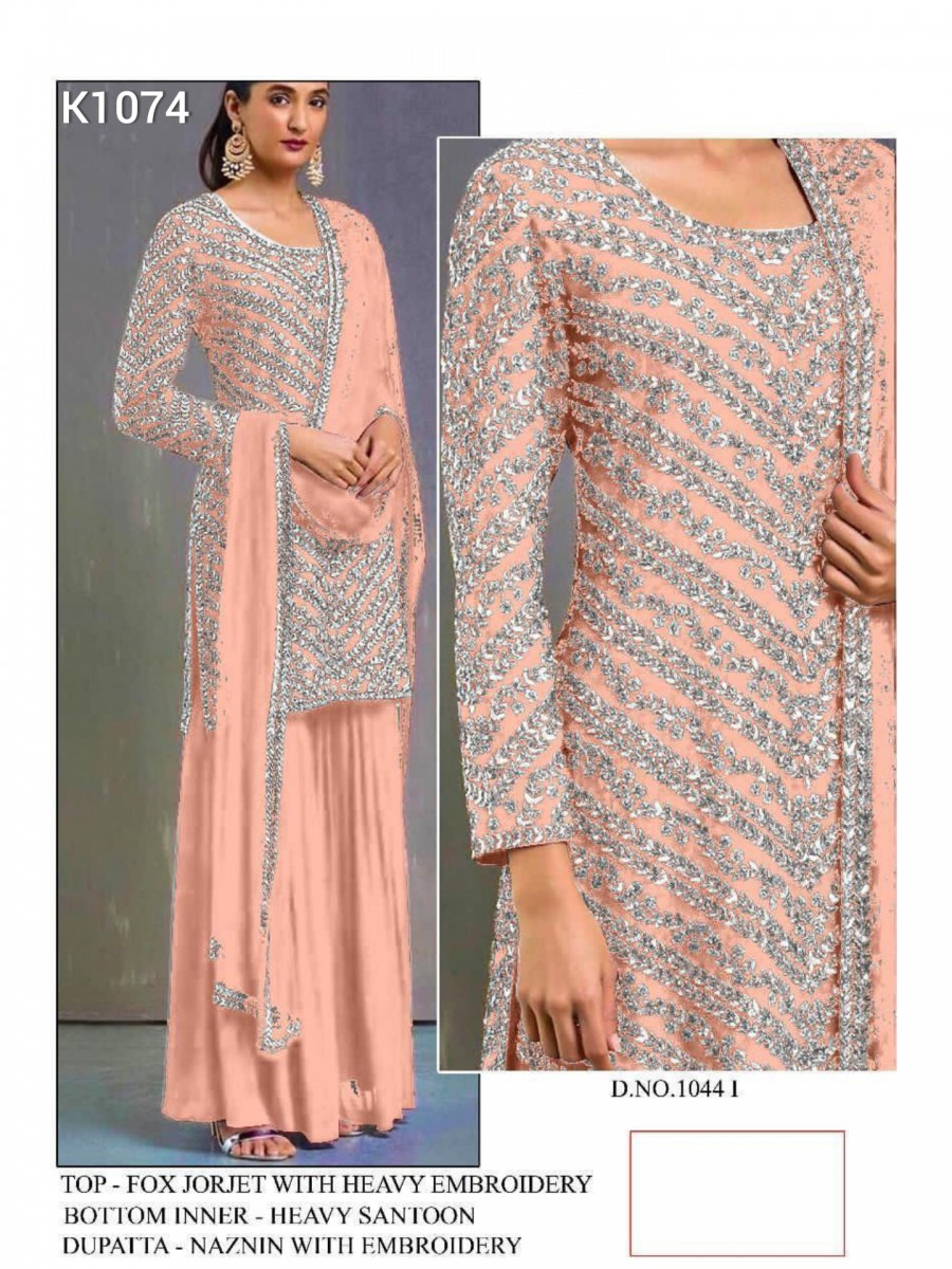 DESIGNER HEAVY FAUX GEORGETTE KURTA WITH HEAVY EMBROIDERY WORK K1074
